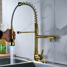 LED Gold Deck Mount Pull Down Spray Swivel Kitchen Sink Faucets Dual Spout Cover
