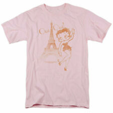 Betty Boop Oui Oui T Shirt Mens Licensed Cartoon Merchandise Paris Light Pink