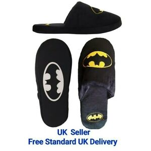 Official DC MARVEL COMICS BATMAN Dark Knight Slip on Slippers Shoes Mules NEW