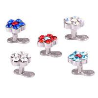 5 pcs Micro Dermal Body Jewelry Anchor Tops Top Grade Steel round rhinestone