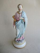 alte Bisquit-Porzellan Figur Heiliger Josef mit Lilien