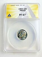 1963 Proof 10c Certified PF 67 Roosevelt Silver Dime Anacs Graded