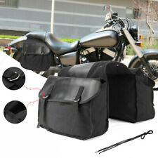 Large Motorcycle Leather Saddle Bags Waterproof Panniers Luggage Tool Bags Black