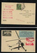 Great  Britain  Autogiro flight card  1934,   nice  item           EX1110
