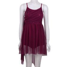 Womens Mesh Sling Sequined Leotard lyrical Costume Modern Ballet Dress dancewear