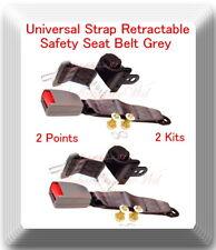 (2 Kits ) Universal Strap Retractable Car Trucks Safety Seat Belt Grey 2 Point