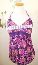 Motherhood Maternity Tankini Swim Suit Mediun M Purple Floral Halter Top EEUC