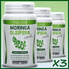3 x Moringa Oleifera LEAF EXTRACT Capsules 10,000mg IMMUNE BOOST SUPER FOOD Pill