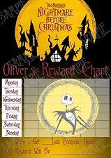 Riutilizzabile NIGHTMARE BEFORE CHRISTMAS MAGNETICO ricompensa grafico con adesivi e penna