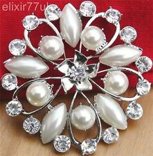 "UK VINTAGE 2"" LARGE SILVER PLATED DIAMANTE RHINESTONE CRYSTAL FLOWER BROOCH GIFT"