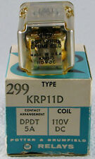 New Electrical Relay Potter and Brumfield Series 299  DPDT 5A 110V DC
