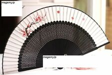 Chinese Japanese Fold Folding Silk Hand Flower Rose Bamboo Pocket Fan White Red