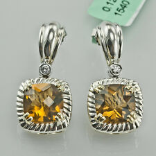 CHARLES KRYPELL 14K YELLOW GOLD & 925 SILVER, SMOKEY TOPAZ & DIAMOND EARRINGS