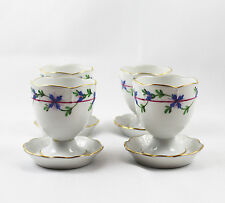 Set of 4 Herend Hungarian China Blue Garland Blue & Pink Floral Single Egg Cups