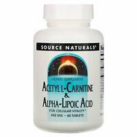 Source Naturals  Acetyl L-Carnitine   Alpha-Lipoic Acid  650 mg  60 Tablets