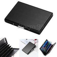Men Wallet ID Credit Card Holder Anti RFID Scanning Stainless Steel Case Black