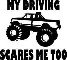 MY DRIVING SCARES ME vinyl decal sticker window muddin 4x4 truck jeep wheelin