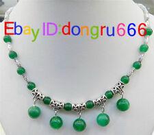 Fashion Women Tibetan Silver Green jade Pendant Necklace Costume Jewellery Gift