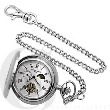 Charles Hubert Stainless Steel Demi Hunter Case Mechanical Pocket Watch - 3553-W