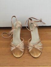 New Tango Ballroom Dance Salsa Shoe Sandal 3 3/4 Inch Heel Gold Gitter Size 6