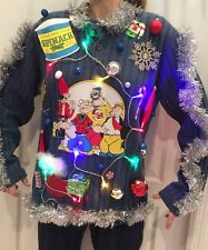 POPEYE Ugly Christmas Sweater LIGHTS UP! CRazY Contest VINTAGE MENS Medium