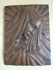 Sculpture bois bas relief La Vierge Marie