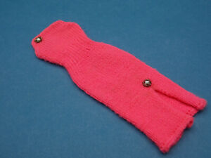 Vintage Barbie 1970s Knit Dress Salmon Pink Jeweled Nice!