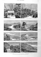 Old Antique Print 1884 Whitby Yorkshire Sandsend Staithes Bedloe Island 19th