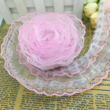 New 5 Yards 4-layer Pink Pleated Trim Mesh Lace Sewing Sequin Gathered Uk02