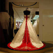 White and Red Embroidery Halter A Line Luxury Wedding Dress Bridal Gown Custom