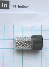 5 gram 99.99% Indium metal shot in glass vial element 49 sample
