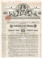 Investitions-Anlehen der...Stadt Wien, 1902, 200 Kronen, ungelocht