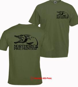 Northern Pike Hunter fishing carp trout zander OLIVE T-SHIRT tee 2-s print