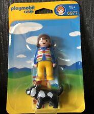 Playmobil 6977 Brun aux cheveux femme avec Black & White chien chiot Set Figure NEW