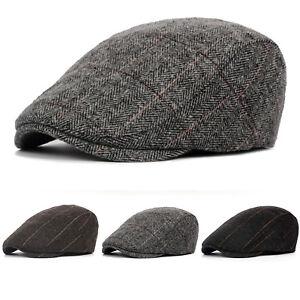 Men Ivy Flat Cap Tweed Hat Gatsby Newsboy Baker Boy Cabbie Newsboy Beret