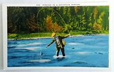 White Border Linen Postcard  Fisherman trout fishing in a mountain stream. New.