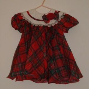 Isababies by Isabella, Red tartan party/special occasion dress age 9 - 12 months