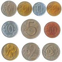 10 DIFFERENT COINS FROM CZECHOSLOVAKIA. OLD FOREIGN MONEY: HELLER KORUNA 1953-92