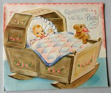 Vintage 1940s? Welcome New Baby Diecut Card Baby Quilt Bear Unused No Envelope