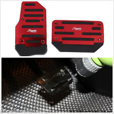 2 Pcs Red Aluminium Alloy Automatic Autos Non-Slip Brake Foot Pedals With Drill