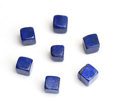 7 pieces Natural Tumbled Lapis Lazuli Carved Cube Crystal Reiki Healing Stones