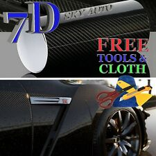 7D Black High GLOSSY Carbon Fiber Vinyl Wrap Sheet With Air Release 10ft X 5ft