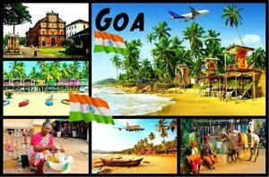Goa, India - Recuerdo de Novedad Imán de Nevera - Monumentos/ Bandera/ Nuevo /