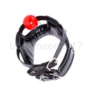 BDSM Bondage Posture PU Leather Harness O-ring Neck Collar Choker Mouth Gag