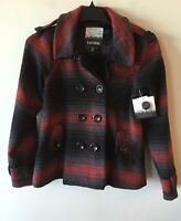 Kensie Double Breasted Plaid Jacket Wool Blend Women's Small S NWT REVISED MEAS.
