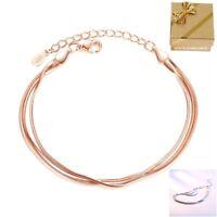 Schlangenarmband 3 Reihig Damen-Armband 925 Silber Rosegold vergoldet Geschenke