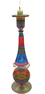 Extra Large Egyptian Hand Blown Glass, Candle Holders Multicolor Hand decorated