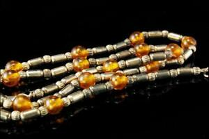 VINTAGE YELLOW AMBER BEADS STERLING NECKLACE A804-109