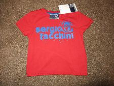 Genuine Boys Sergio Tacchini T-Shirt BNWT Age 2-3 Yeats Red Top Blue Logo XMAS