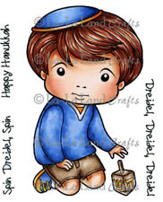 New La La Land Crafts LUKA WITH DREIDEL Cling Rubber Stamp Boy Hanukkah Holidays